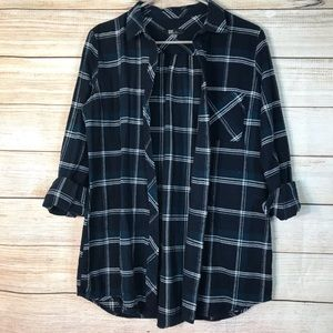 Kut from the cloth blue plaid top sz M